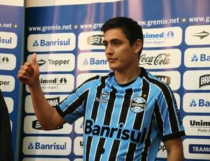 Matías Rodríguez é apresentado como novo reforço do Grêmio (Foto: Eduardo Deconto)