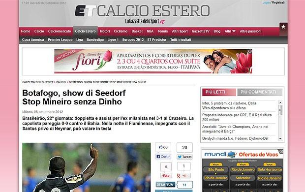 Seedorf partida jornais internacionais Botafogo (Foto: Reprodução / Corriere dello Sport)