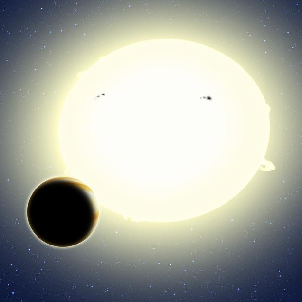 Desenho ilustra efeitos observados no novo método, usado para descobrir Kepler 76-b (Foto: David A. Aguilar (CfA))