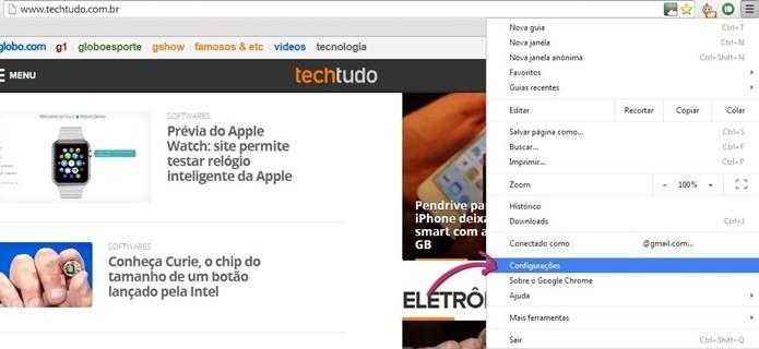Posição do menu Configurações do Chrome (Foto: Reprodução/Raquel Freire)