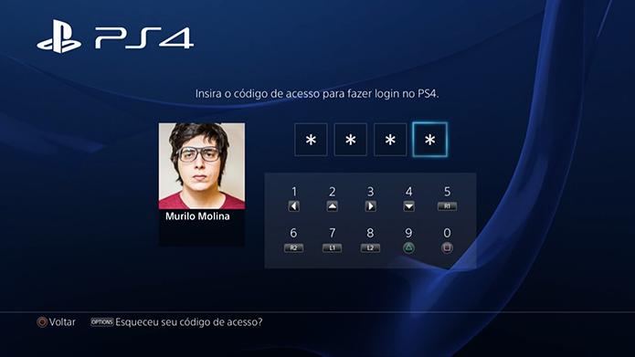 Configure uma senha para o console (Foto: Reprodução/Murilo Molina)