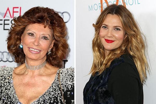 Como se não bastasse Steven Spielberg como padrinho, Drew Barrymore ainda tem Sophia Loren como madrinha (Foto: Getty Images)