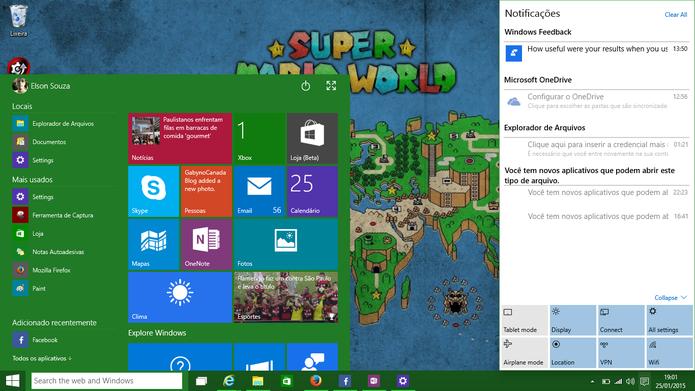 Windows 10 para computadores terá a interface clássica do Windows misturada com os blocos dinâmicos (Foto: Reprodução/Elson de Souza)