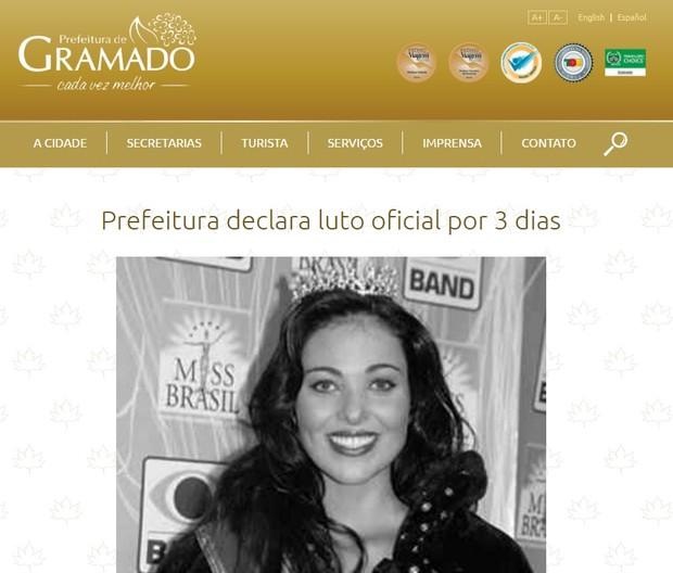 Comunicado oficial de luto pela prefeitura de Gramado pela morte de Fabiane Niclotti (Foto: Reprodução/Site oficial)