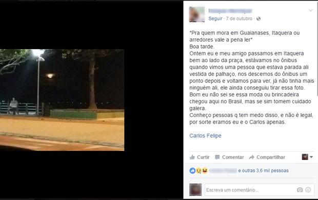 No Facebook, jovem faz alerta para moradores de Itaquera e Guaianases (Foto: Reprodução/Facebook)
