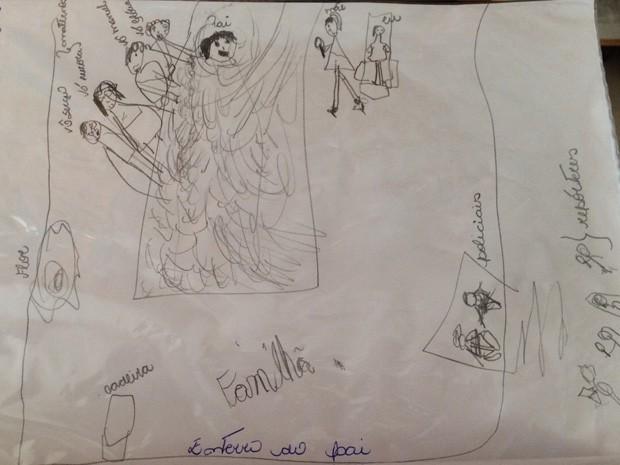Filha de capitão de UPP morto fez desenho mostrando enterro (Foto: Divulgação/Arquivo Pessoal)
