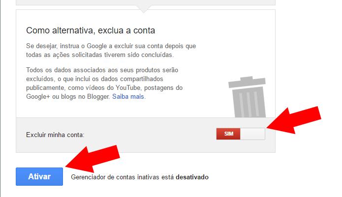 Programe a exclusão da conta e ative o gerenciador (Foto: Reprodução/Paulo Alves)