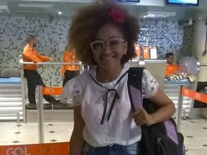 Luciane Ferreira embarca no aeroporto em Teresina para o 'Jesus na Olimpíada' no Rio de Janeiro (Foto:  Luciane Ferreira/Arquivo Pessoal)