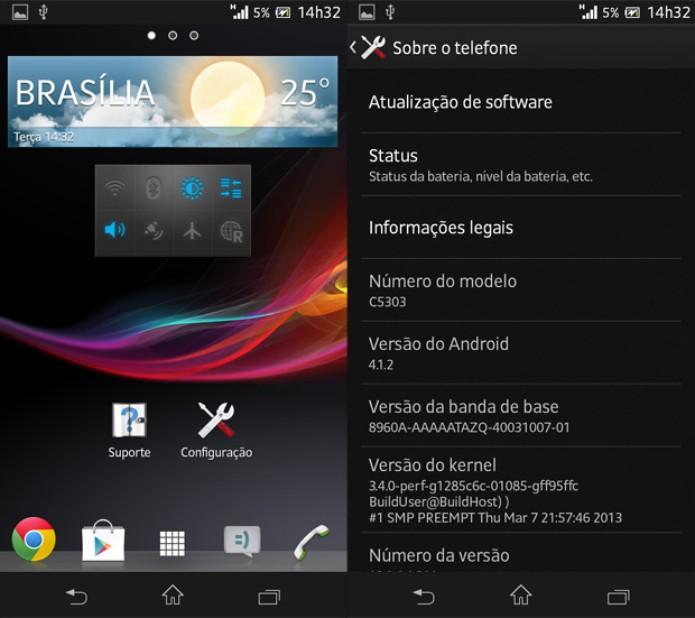 Menu de aplicativos e tela de especificações do Xperia SP (Foto: Isadora Díaz/TechTudo)