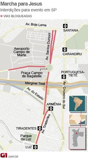 Mapa Marcha Para Jesus (Foto: G1)