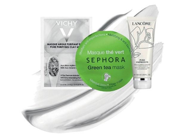 Máscara Mineral Argila Purificante, Vichy, R$ 20. Green Tea Mask, Sephora Collection, R$ 34. Pure Empreinte, Lancôme, R$ 299 (Foto: Divulgação)