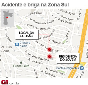 Acidente e briga na Zona Sul (Foto: Arte/G1)