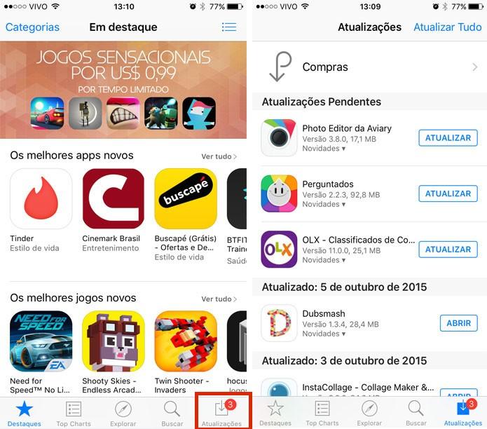 Vá até a App Store e veja se o app que está com problemas tem alguma atualização disponível (Foto: Gabriella Fiszman/ TechTudo)