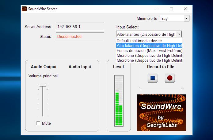 Selecionea fonte do som a ser transmitida (Foto: Reprodução/Paulo Alves)