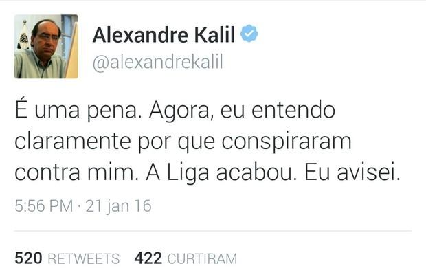 Alexandre Kalil no Twitter