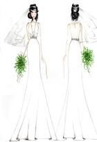 Veja o croqui do vestido de noiva da personagem Aline em 'Amor à vida'