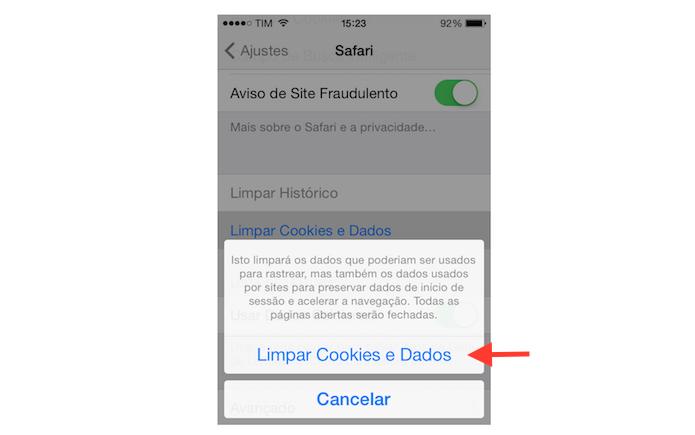 Confirmando a limpeza de dados de navegação do Safari do iPhone (Foto: Reprodução/Marvin Costa) (Foto: Confirmando a limpeza de dados de navegação do Safari do iPhone (Foto: Reprodução/Marvin Costa))