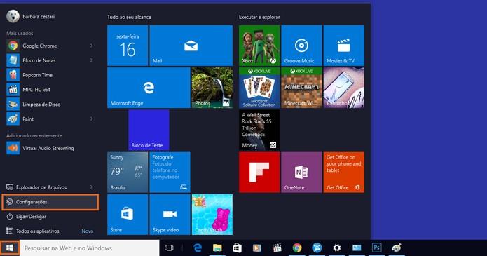 Acesse as configurações pelo menu inicial do Windows (Foto: Reprodução/Barbara Mannara) (Foto: Acesse as configurações pelo menu inicial do Windows (Foto: Reprodução/Barbara Mannara))