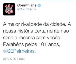 No Twitter, Corinthians parabeniza Palmeiras pelo seu aniversário de 101 anos (Foto: reprodução / Twitter)