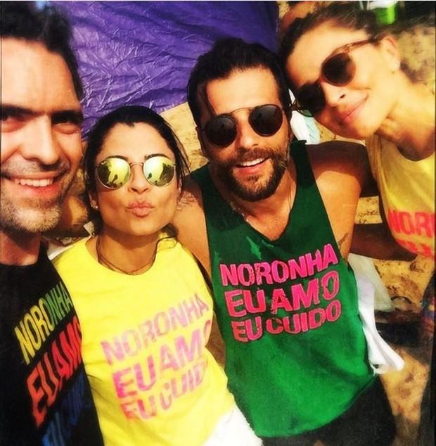Anna Lima, Bruno Gagliasso e  Grazi Massafera em Fernando de Noronha (Foto: Instagram / Reprodução)