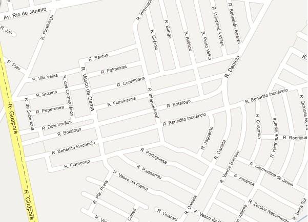 Bairro Lagoa, em Porto Velho, tem ruas com nomes de times (Foto: Google maps)