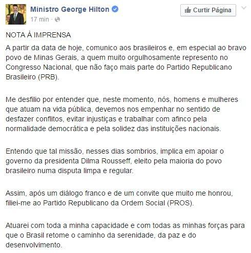 Comunicado oficial de George Hilton em sua página no Facebook (Foto: Reprodução/Facebook)
