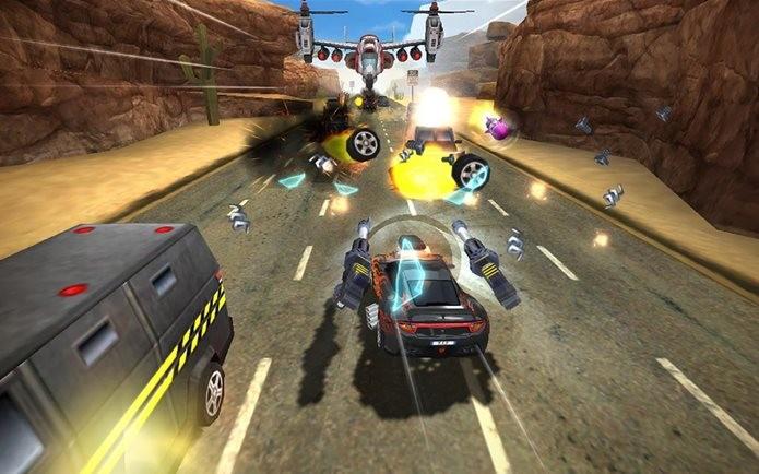 Game de corrida maluco onde você encara o trânsito com armas e foguetes (Foto: Divulgação / Netmarble)