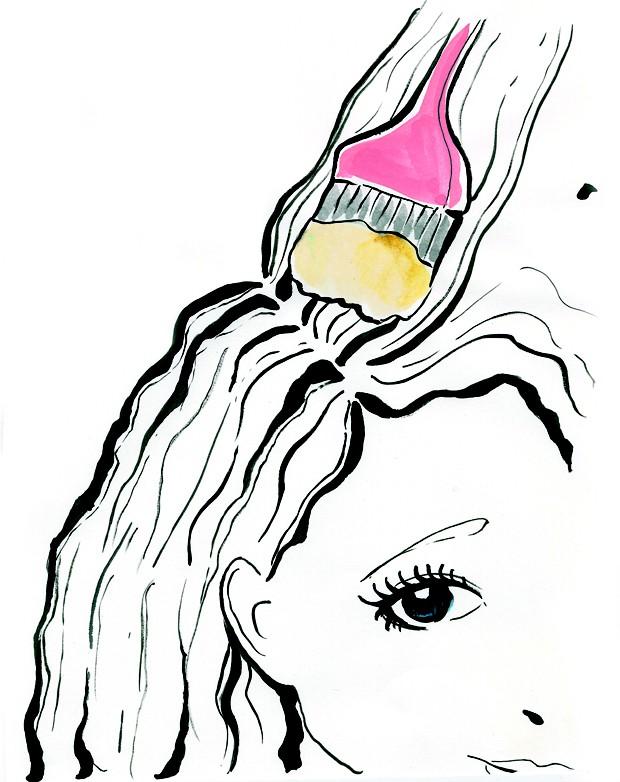 Desenho de mulher pintando o cabelo (Foto: Naíma Saleh)