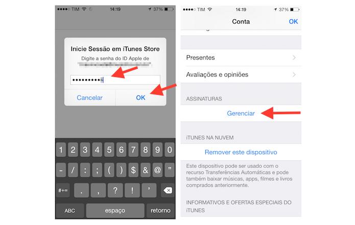 Acessando a página de gerenciamento de assinaturas da ID da Apple para cancelar a assinatura do Rdio pelo iPhone (Foto: Reprodução/Marvin Costa)