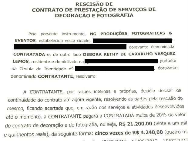 Contrato de rescisão entre Netto Galvão e Débora Lemos; dois dos cinco cheques não tinham fundos (Foto: Reprodução)