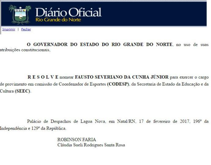 Fausto Cunha nomeação Codesp