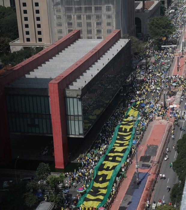 Manifestação na avenida Paulista neste domingo, 12 de abril (Foto: Paulo Pinto/Fotos Públicas)