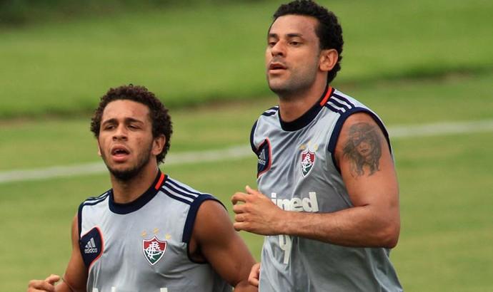 Fred e Wellington Nem, treino Fluminense 2013 (Foto: Denny Cesare / Photocamera)