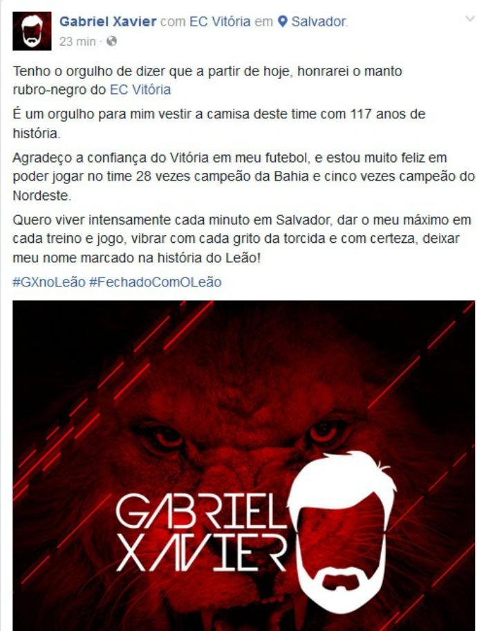 Gabriel Xavier posta acerto com o Vitória (Foto: Reprodução / Facebook)