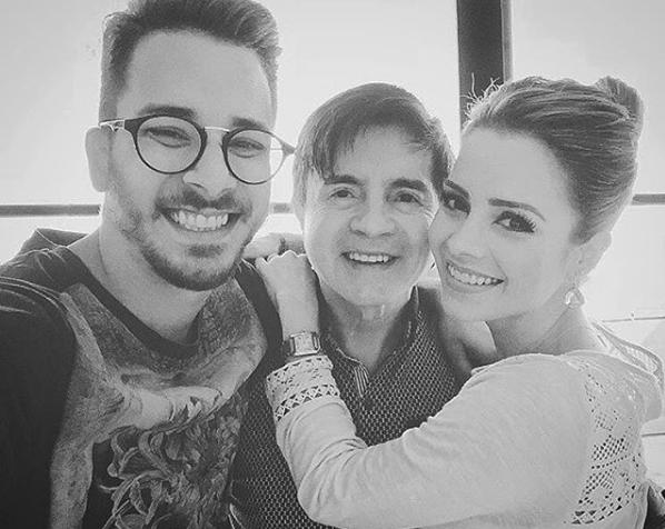 Junior Lima, Xororó e Sandy no Dia dos Pais (Foto: Reprodução / Instagram)
