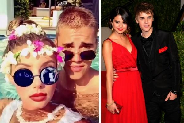 Justin Bieber com Sahara Ray e Selena Gomez (Foto: Instagram/Getty Images)