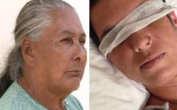 Divina entrou com um pedido de guarda do neto; filho é suspeito de furar olhos de Mara Rúbia (Foto: Reprodução/TV Anhanguera)