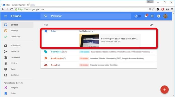 Texto salvo no Inbox by Gmail (Foto: Felipe Alencar/TechTudo)