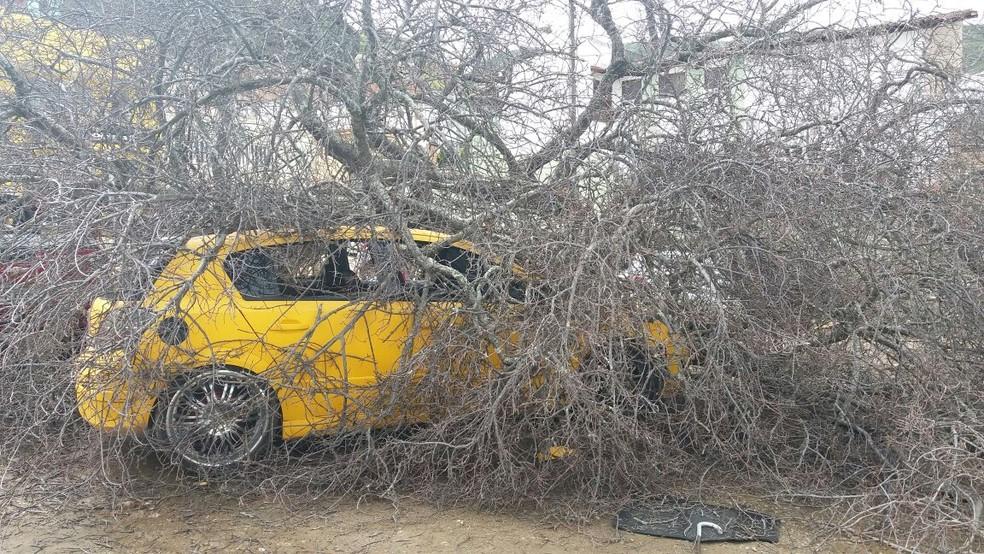 Outro veículo atingido no centro de Jacobina, na manhã deste sábado (Foto: José Augusto/Blog Augusto Urgente)