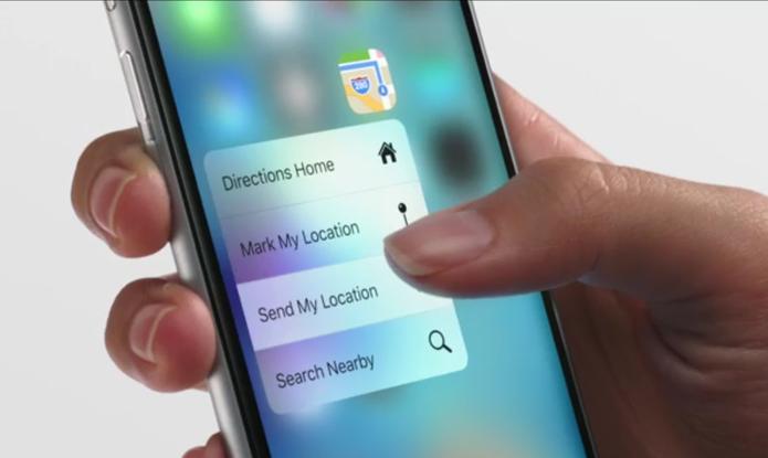 Tecnologia 3D Touch sendo demonstrada no iPhone 6S (Foto: Reprodução/Apple)