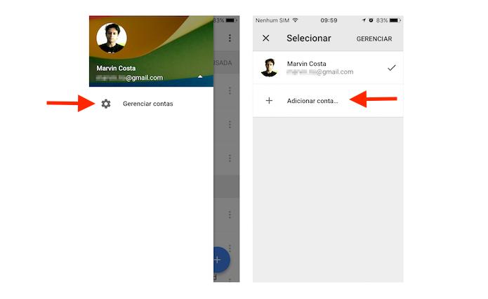 Acessando a página para login de uma segunda conta no Google Drive para iPhone (Foto: Reprodução/Marvin Costa)