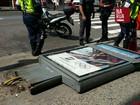 Vento derruba propaganda dos Jogos e fere turista em Copacabana, Rio