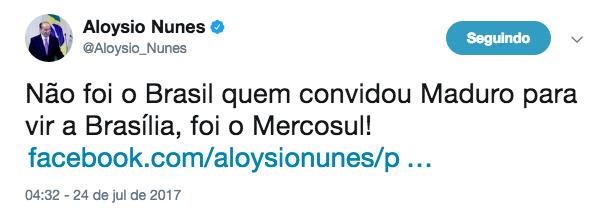 Twitter do chanceler brasileiro, Aloysio Nunes (Foto: Reprodução)