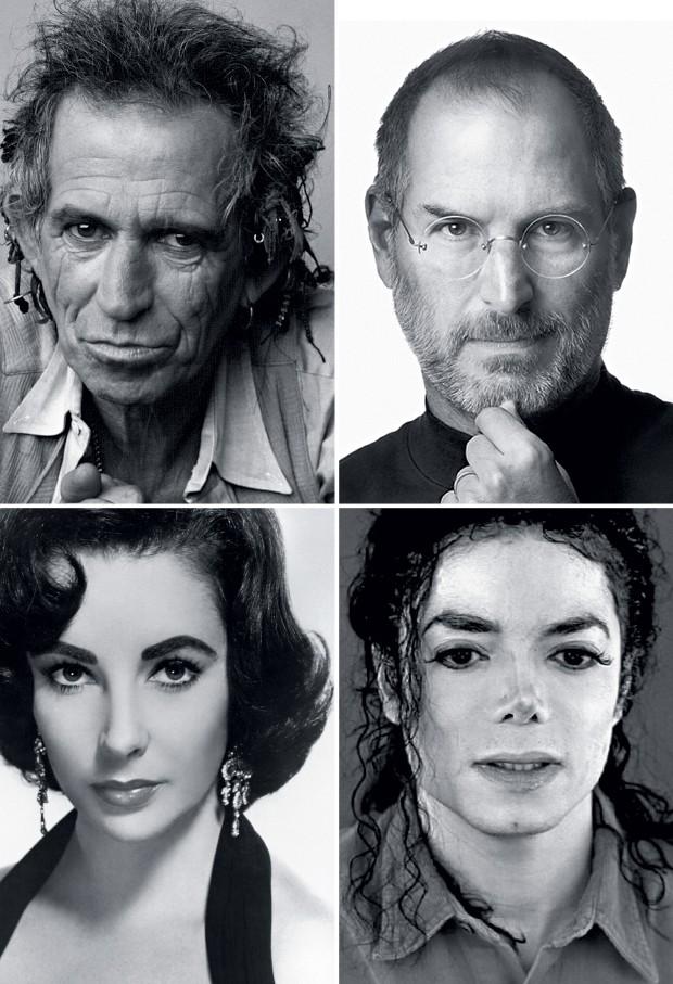 SEM RESTRIÇÕES Keith Richards, dos Rolling Stones, Steve Jobs, fundador da Apple, a atriz Elizabeth Taylor e o cantor Michael Jackson. Todos foram temas de biografias não autorizadas (Foto: Deborah Feingold/Corbis, reprodução, CinemaPhoto/Corbis e Reuters)