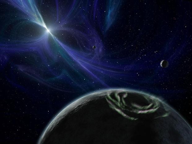 Representação gráfica da estrela-mãe PSR 1257+12, que pode ser renomeada para Rock'n'Roll Star  (Foto: NASA)
