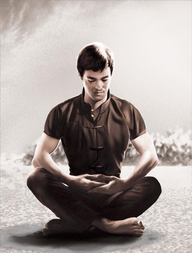 Bruce Lee - O ícone das artes marciais costumava praticar meditação antes dos embates (Foto: Alexandre Jurban)