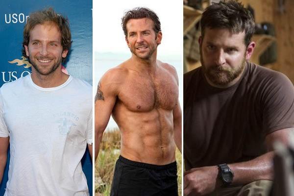 Bradley Cooper (antes) e nos filmes 'Esquadrão Classe A' e 'Sniper Americano' (Foto: Getty Images//Reprodução//Reprodução)