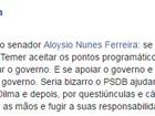 Serra defende participação do PSDB no governo se Temer assumir
