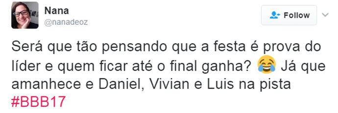 Tweet Vivian na Pista (Foto: Reprodução da Internet)