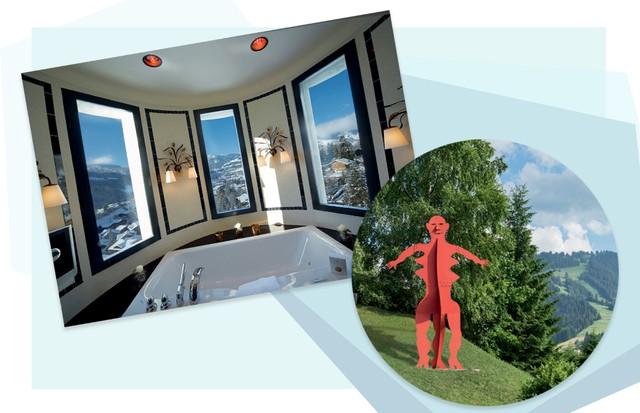 Banheiro com vista de tirar o fôlego no Palace e, ao lado, escultura de Alexander Calder (Foto: Divulgação e Arthur Elgort)